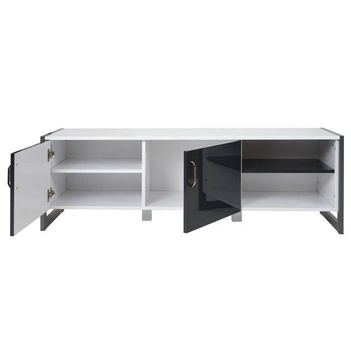 tv rack hwc b27 fernsehtisch lowboard hochglanz 140x45x40cm wei grau. Black Bedroom Furniture Sets. Home Design Ideas