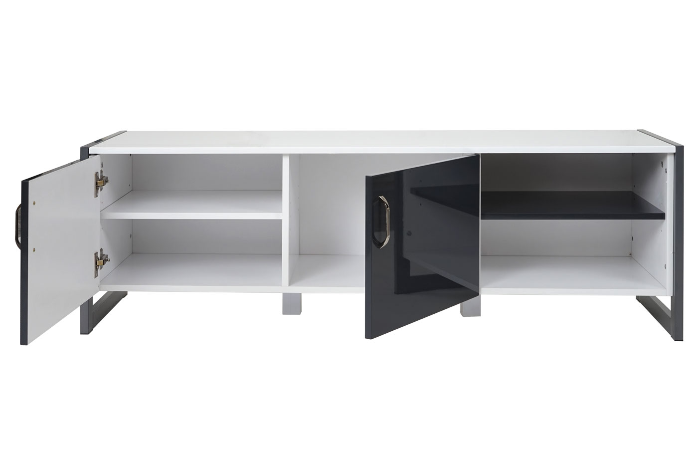 tv rack mcw b27 fernsehtisch lowboard hochglanz 140x45x40cm wei grau. Black Bedroom Furniture Sets. Home Design Ideas