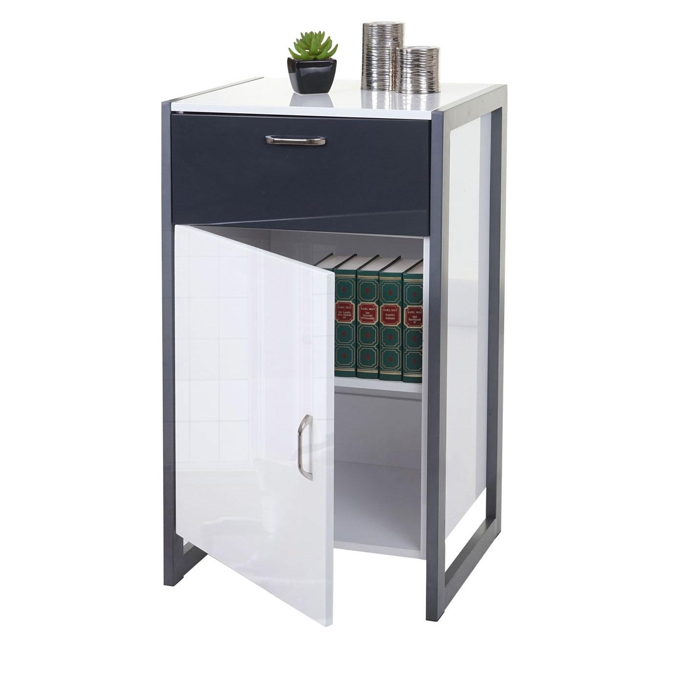 b ware kommode hwc b27 schubladenschrank hochglanz 90x50x40cm wei grau. Black Bedroom Furniture Sets. Home Design Ideas
