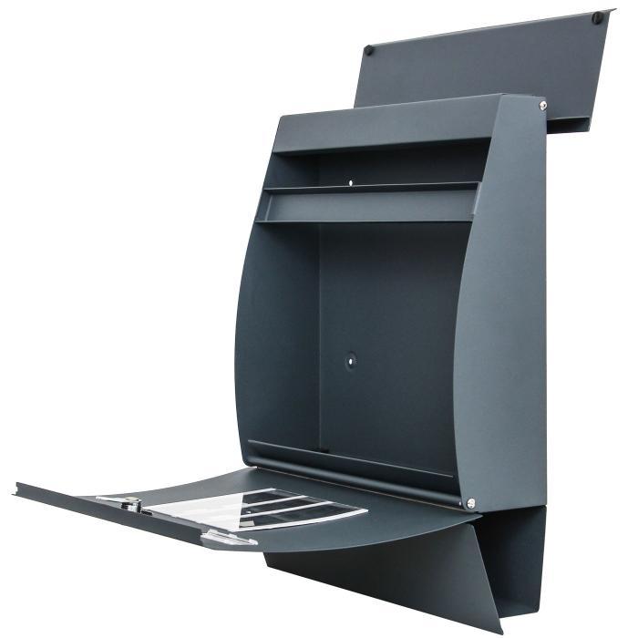 briefkasten hwc b32 wandbriefkasten postkasten zeitungsfach pulverbeschichtet anthrazit. Black Bedroom Furniture Sets. Home Design Ideas