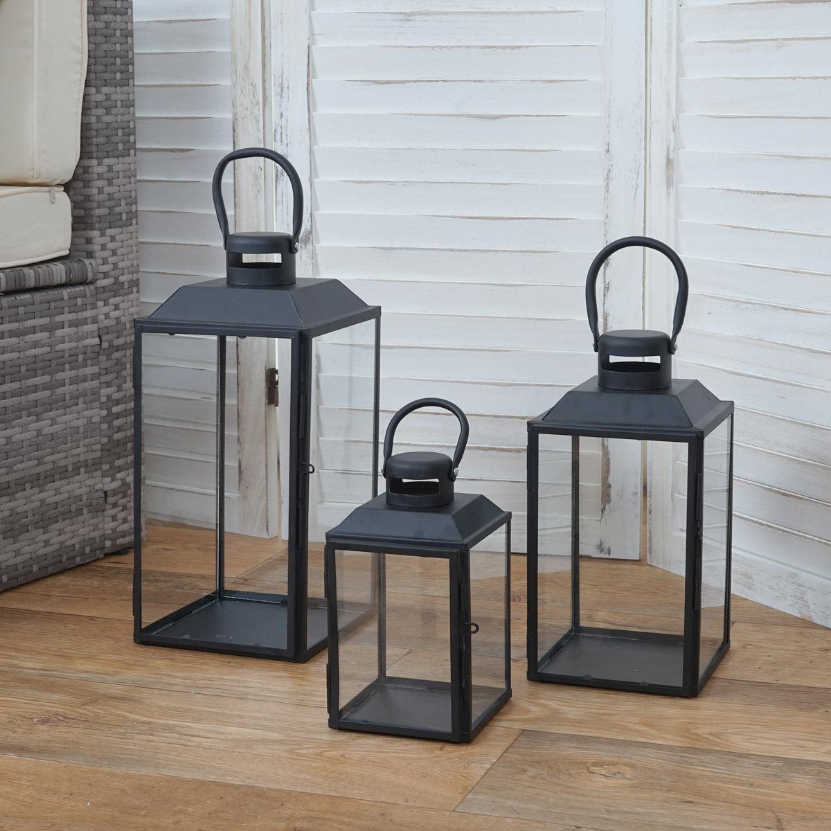 3er set laterne hwc b38 windlicht gartenlaterne metall h he 42 33 24cm. Black Bedroom Furniture Sets. Home Design Ideas