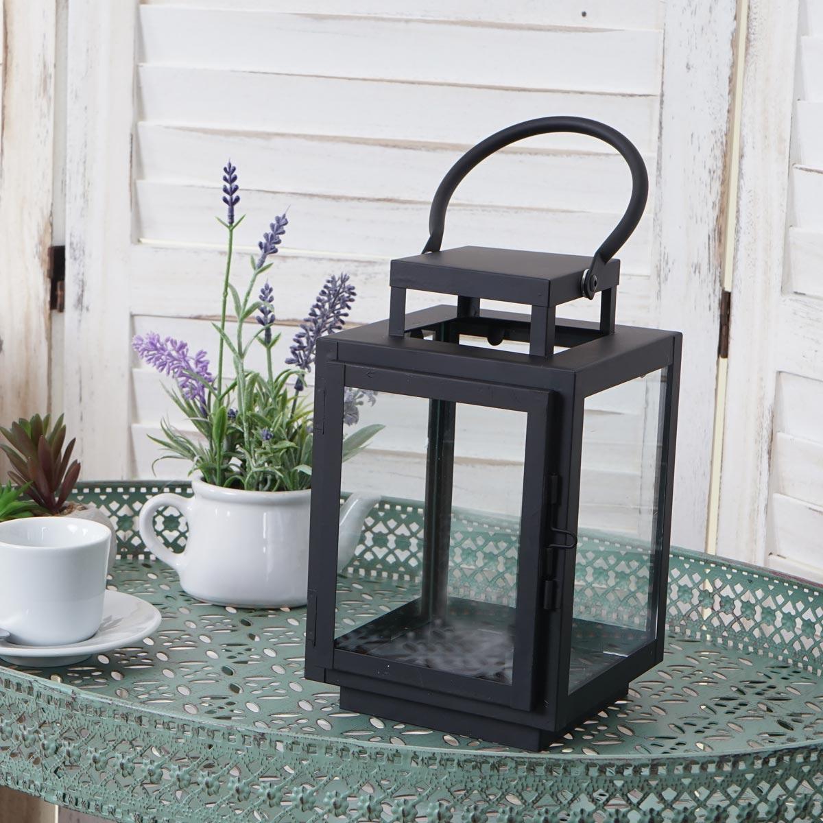 laterne hwc b40 windlicht gartenlaterne metall h he 22cm schwarz. Black Bedroom Furniture Sets. Home Design Ideas