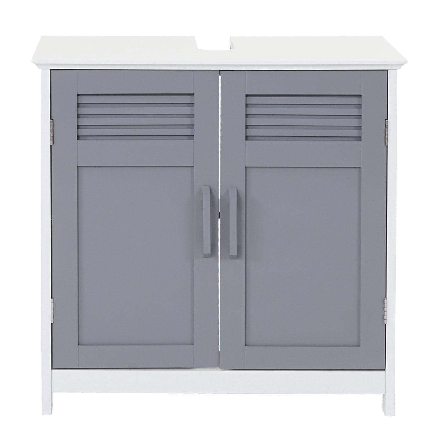 Waschbeckenunterschrank Mcw A85 Badschrank Bambus 60x60x30cm Weiss