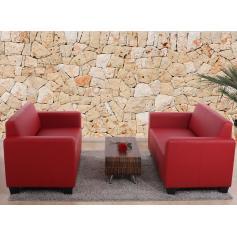 Modular 2er Sofa Couch Lyon Loungesofa Kunstleder Rot