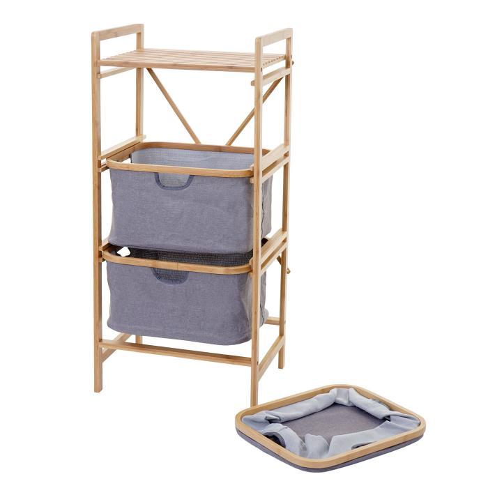 Wäschesammler Hwc B56 Regal Wäschesortierer Wäschekorb Badregal Aufbewahrung Bambus 96x44x34cm 78l