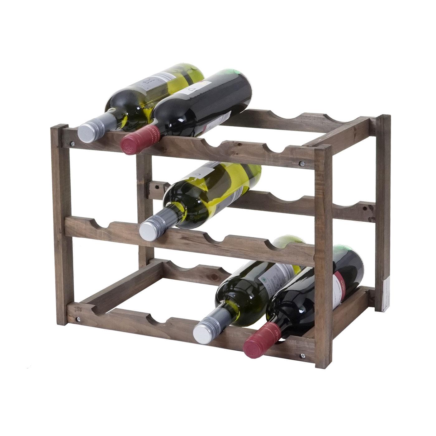 Weinregal Hwc B58 Flaschenregal Weinstander Weinhalter Tanne 3 Boden 1 Stuck
