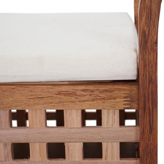 Sitzbank HWC-B61, Sitztruhe Wäschetruhe Holzbank Truhe Badezimmer Bank mit  Auflage, Staufach Walnuss 50x89x40cm