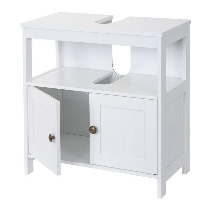 Waschbeckenunterschrank Hwc B63 Badschrank Badezimmer Unterschrank Waschtischunterschrank 60x60x30cm Weiß