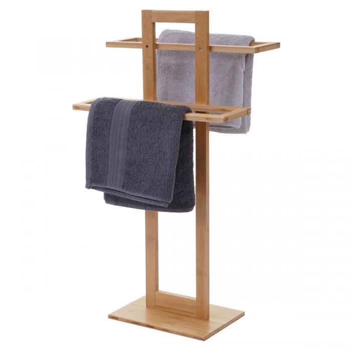 Handtuchhalter HWC-B74, Badezimmer Handtuchständer Handtuchtrockner  freistehend, Bambus 80x42x27cm