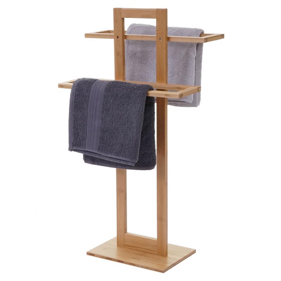 Handtuchhalter HWC B74 Badezimmer freistehend Bambus