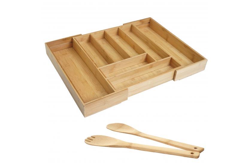 3er Set Schüssel Bambus Salatbesteck HWC-B98 Dekoschale Servierbesteck