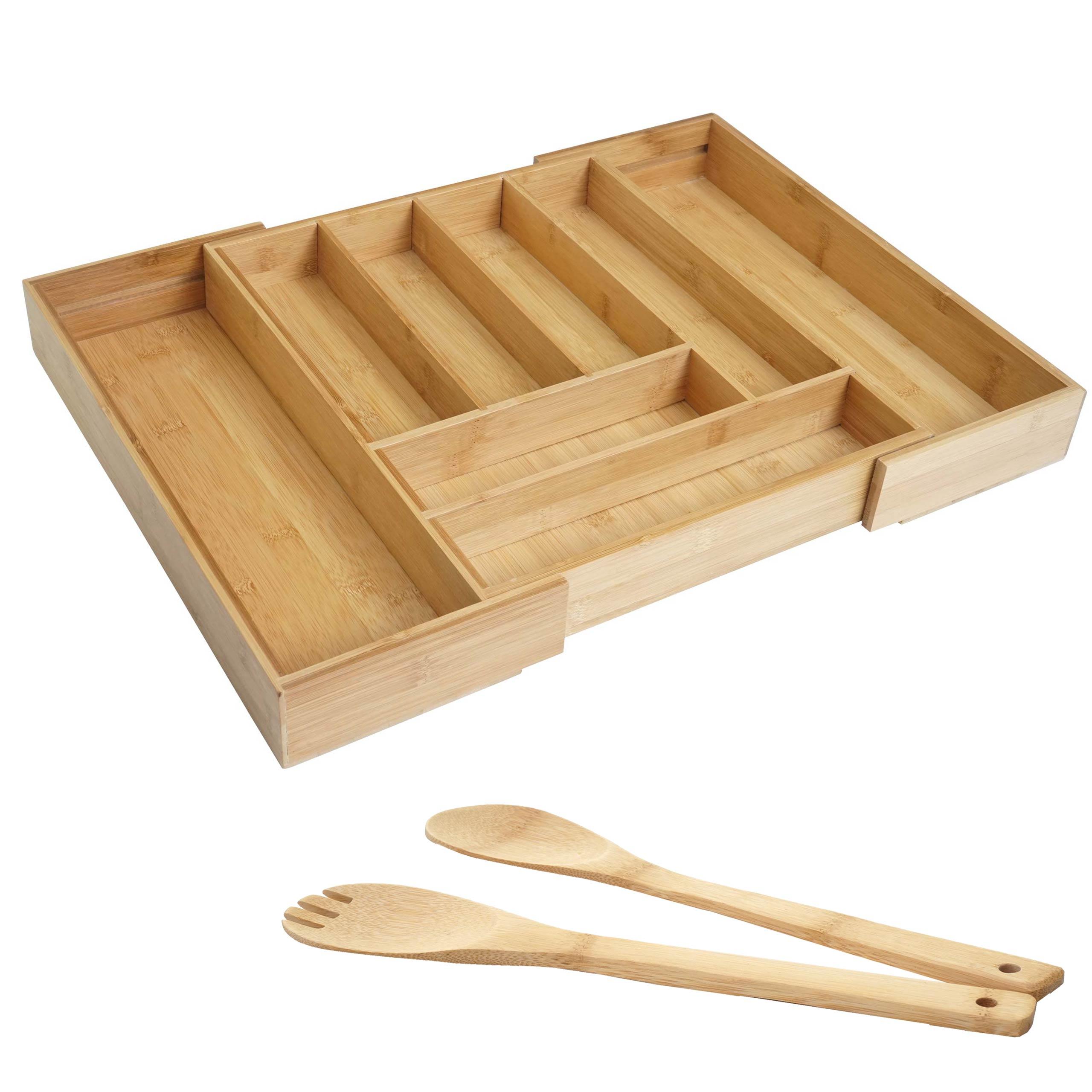 Mendler Besteckkasten + Salatbesteck HWC-B20, Schubladeneinsatz Geschirrkasten Servierbesteck Küchenzubehör, 57559+60928