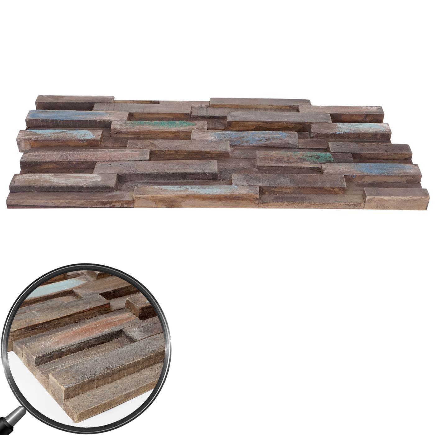 Mendler 10x Teak-Holzfliesen HWC-B95 (1qm), 3D Wandfliesen Wandverkleidung Mosaikfliesen Wandpaneele vintage 60904