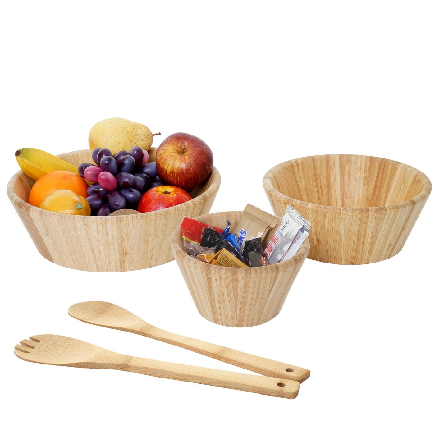 Mendler 3er Set Schüssel + Salatbesteck HWC-B98, Servierschüssel Dekoschale stapelbar Servierbesteck Küchenz 60861+60928
