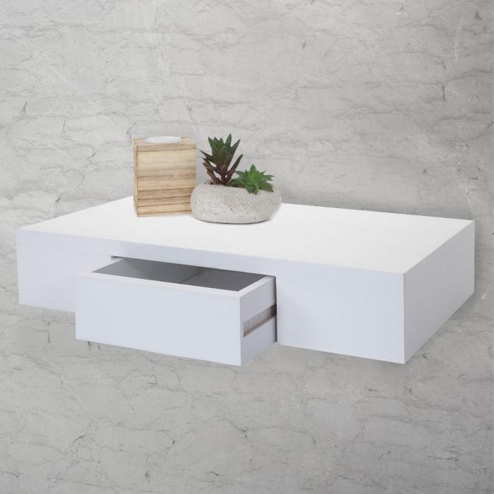 wandregal oise regal h ngeregal mit schublade 40cm wei. Black Bedroom Furniture Sets. Home Design Ideas