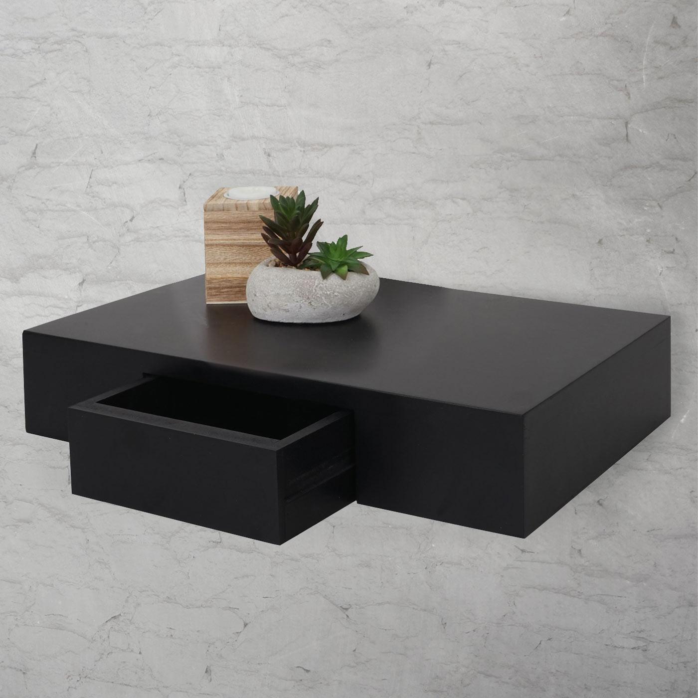 wandregal oise regal h ngeregal mit schublade 40cm schwarz. Black Bedroom Furniture Sets. Home Design Ideas
