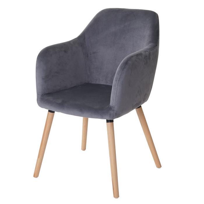 Esszimmerstuhl Malmo T381 Stuhl Kuchenstuhl Retro 50er Jahre Design Samt Grau Helle Beine