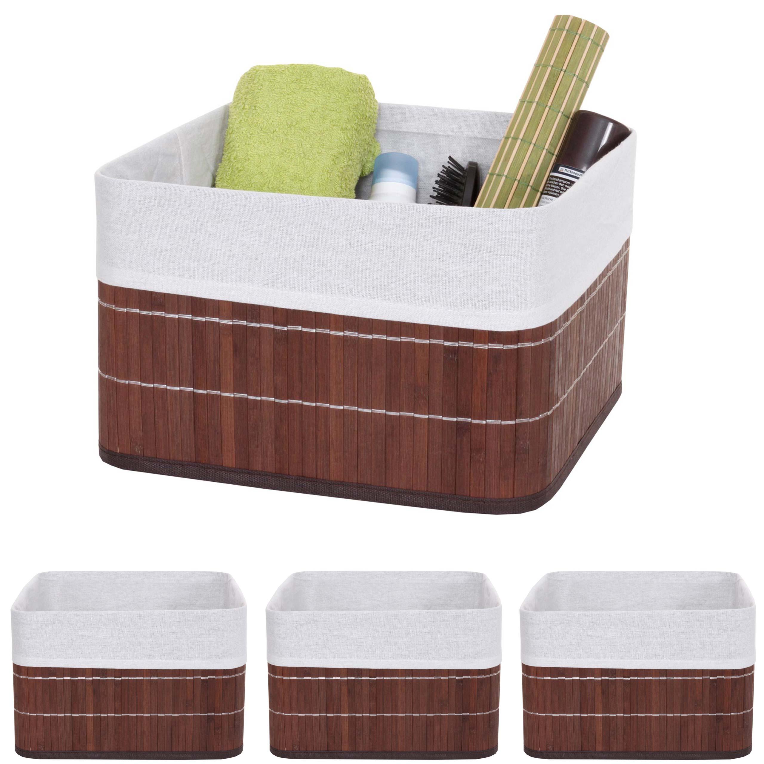 Mendler 4x Aufbewahrungskorb HWC-C21, Korb Aufbewahrungsbox Ordnungsbox Sortierbox Regalkorb, Bambus braun ~ 4x61223