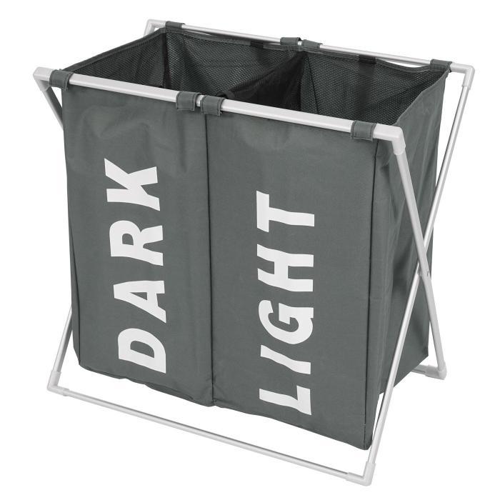 w schesammler hwc c36 laundry w schesortierer w schekorb 2 f cher klappbar 58x59x37cm 127l grau. Black Bedroom Furniture Sets. Home Design Ideas