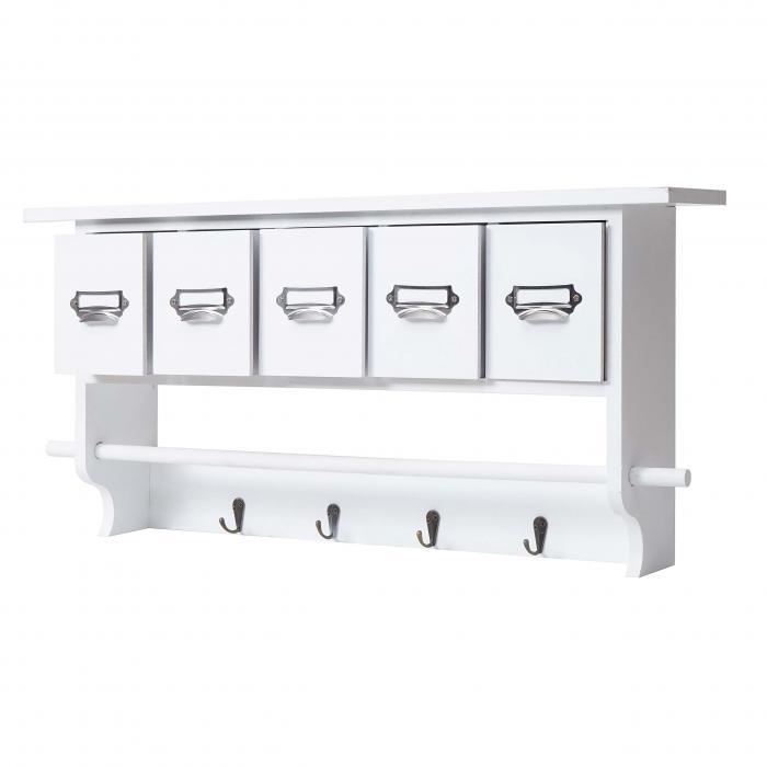 Elegant Küchenregal HWC C49, Haushaltsregal Regal, Vintage Mit 5 Schubladen  32x65x13cm ~ Weiß