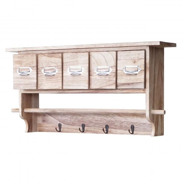 Küchenregal HWC C49, Haushaltsregal Regal, Vintage Mit 5 Schubladen  32x65x13cm ~ Natur