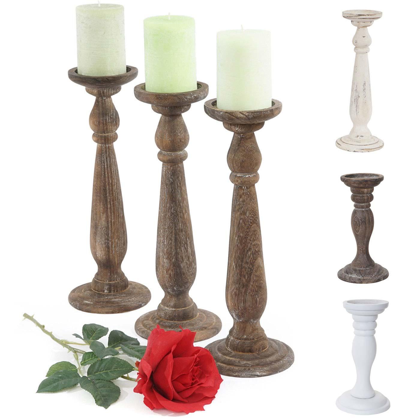 Mendler 3er Set Kerzenständer T360, Kerzenhalter, Shabby-Look Vintage Höhe 35cm ~ Variantenangebot 38444