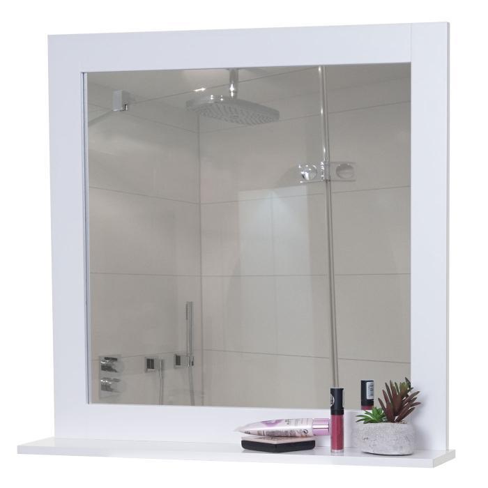Turbo Wandspiegel mit Ablage HWC-C66, Badezimmer Badspiegel, 58x60cm weiß DD21