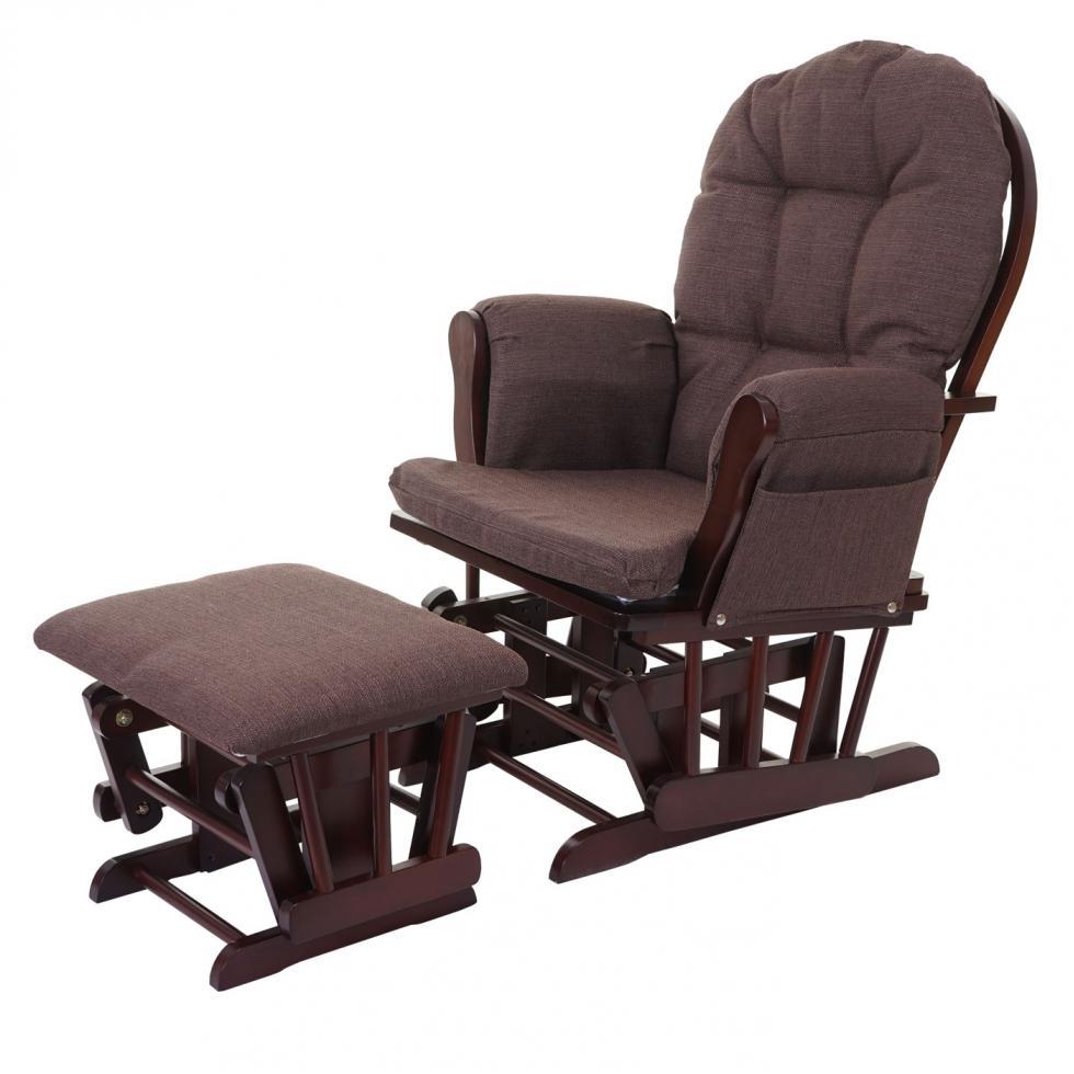 relaxsessel mcw c76 schaukelstuhl stillstuhl mit hocker stoff textil mahagony ebay. Black Bedroom Furniture Sets. Home Design Ideas