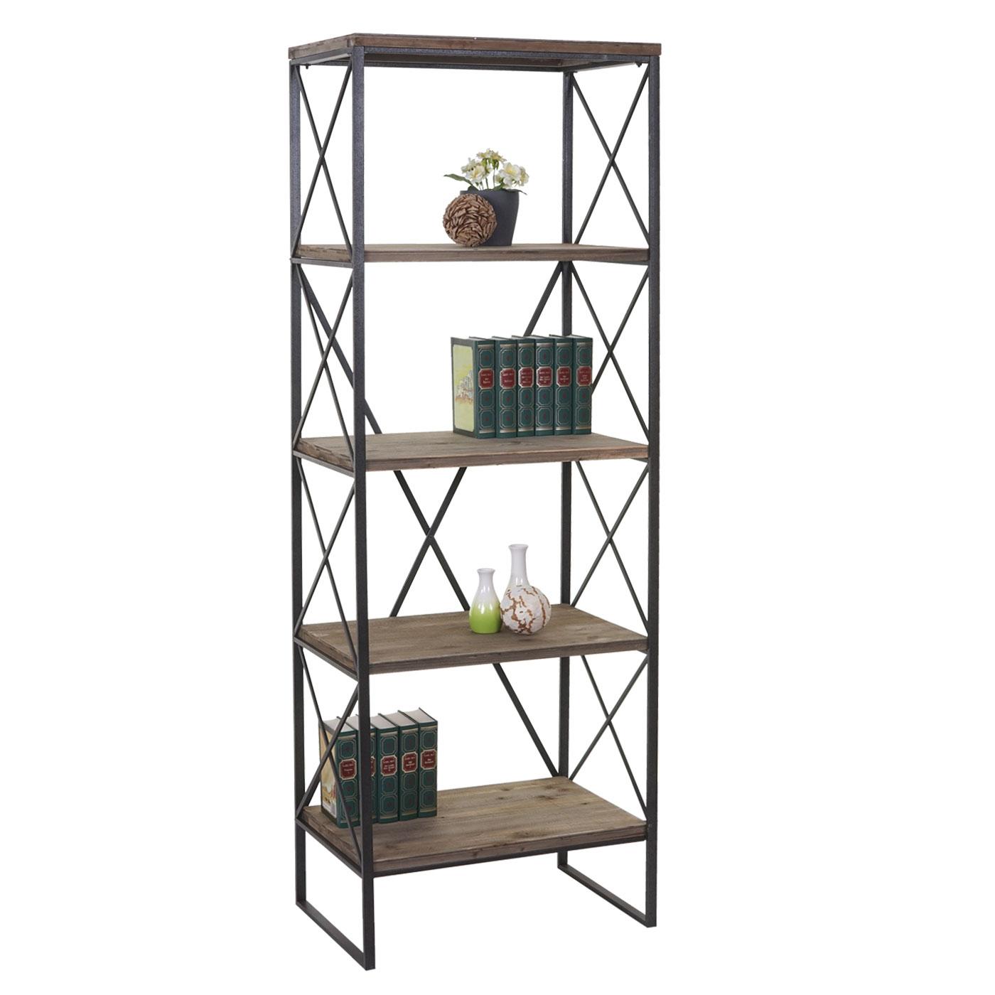Scaffale Libreria Metallo.Dettagli Su Libreria Scaffale Hwc C10 Legno E Metallo 5 Ripiani 40x60x174cm