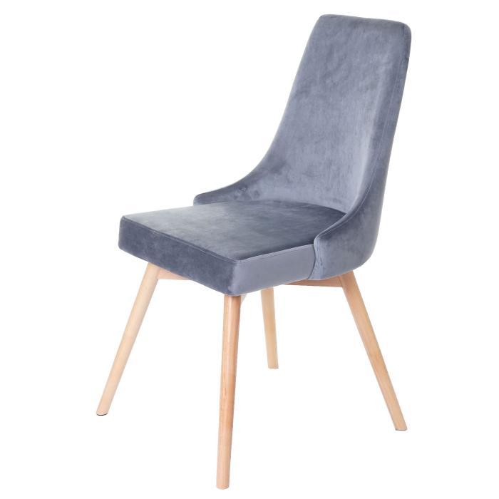2x Esszimmerstuhl HWC B44, Stuhl Küchenstuhl, Retro 50er Jahre Design Samt ~ grau
