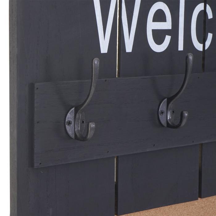 Garderobe Wandgarderobe HWC-C89 mit Pinnwand Shabby-Look 8 Haken 91x60cm