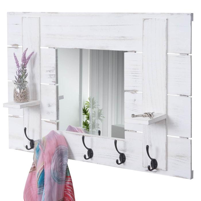 Wandgarderobe HWC-C89 mit Spiegel, Garderobenpaneel Garderobe, Shabby-Look  Vintage, 5 Haken 90x60cm ~ weiß, shabby