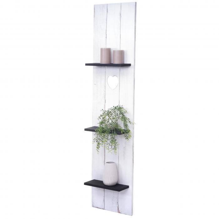 Wandregal HWC-C92, Wandpaneel Holzregal Regal, 3 Ebenen 150x33x13cm  Massivholz Vintage ~ weiß/dunkelgrau shabby