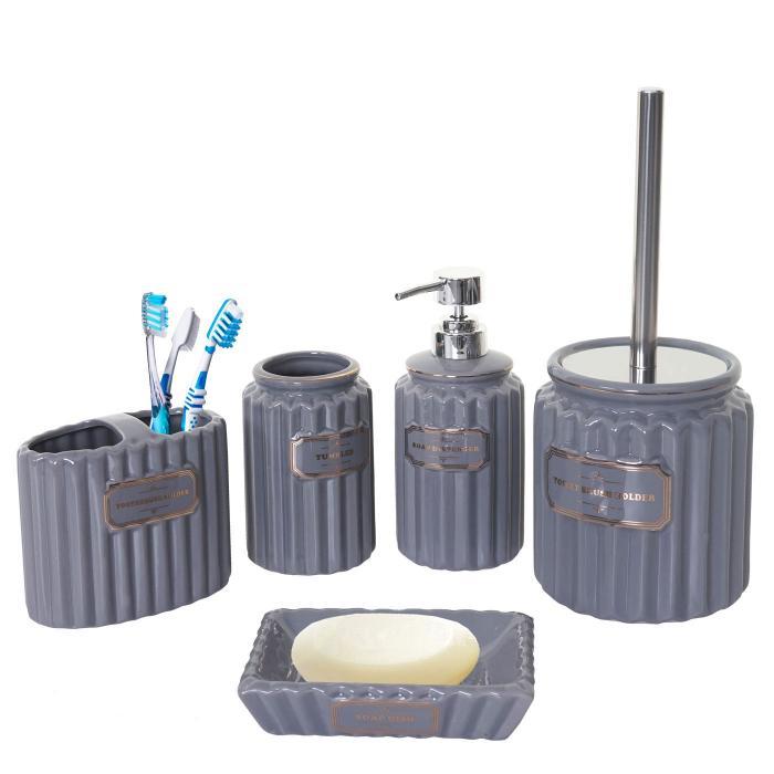 5-teiliges Badset HWC-C96, WC-Garnitur Badezimmerset Badaccessoires,  Keramik grau/gold