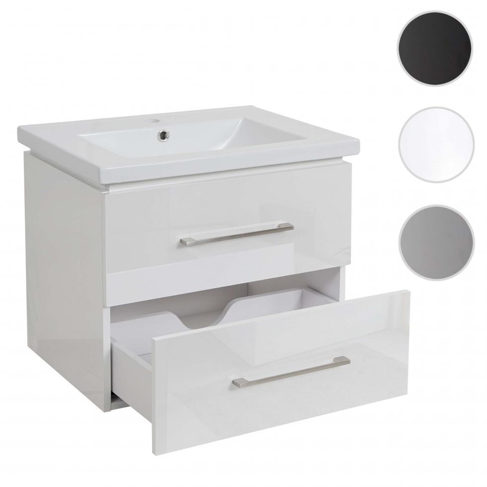 Details zu Premium Waschbecken + Unterschrank HWC-D11 Waschbecken  Waschtisch hochglanz 11cm