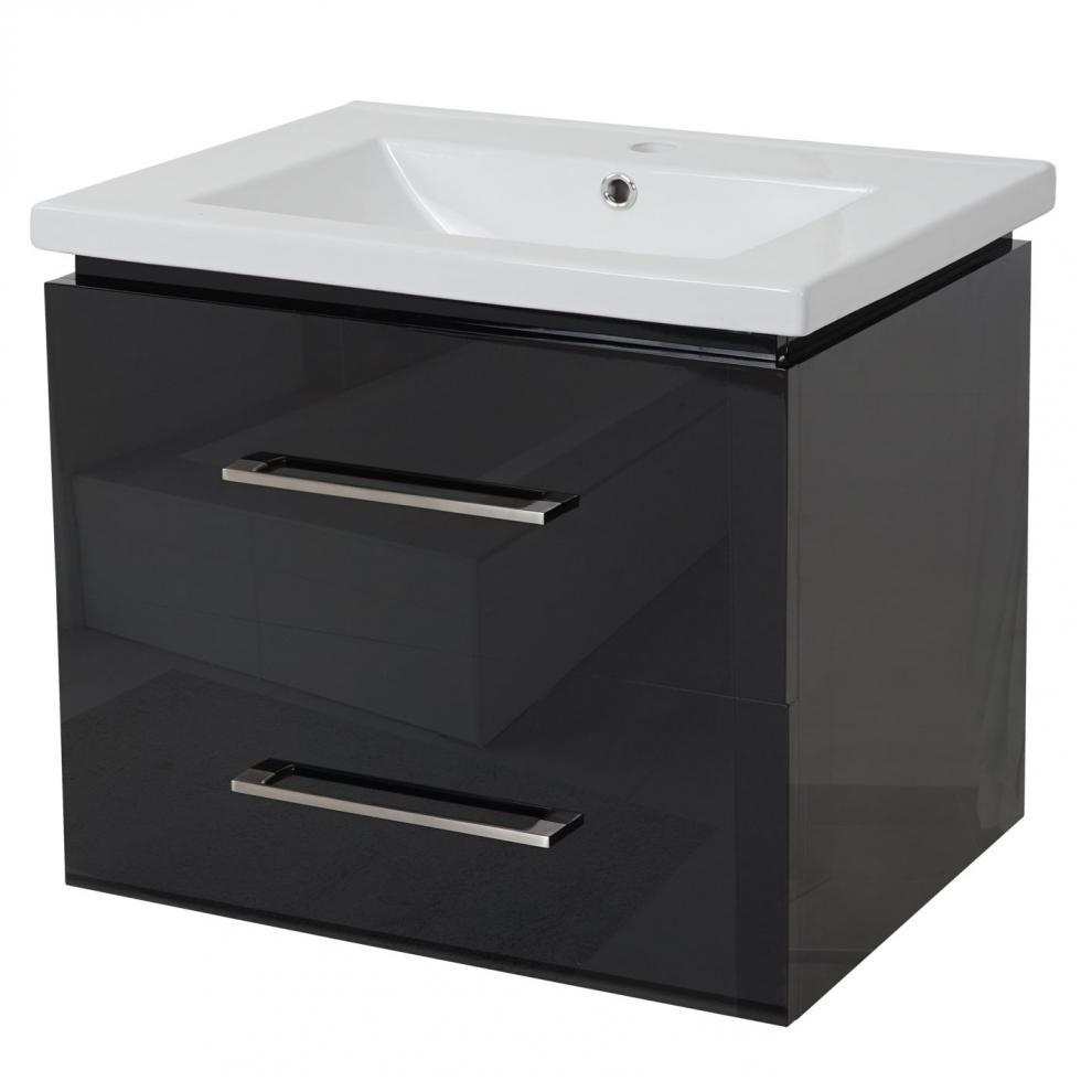 Details zu Premium Waschbecken + Unterschrank MCW-D11, Waschtisch,  hochglanz 11cm schwarz
