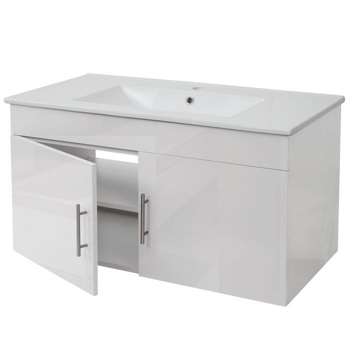 Waschbecken Unterschrank Hwc D16 Waschbecken Waschtisch Hochglanz 90cm Weiß