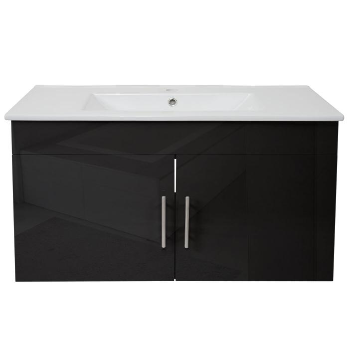 waschbecken unterschrank hwc d16 18mm waschbecken waschtisch t ren hochglanz 90cm schwarz. Black Bedroom Furniture Sets. Home Design Ideas