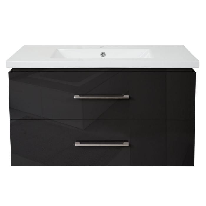 Premium Waschbecken Unterschrank Hwc D16 Waschbecken Waschtisch Hochglanz 90cm Schwarz