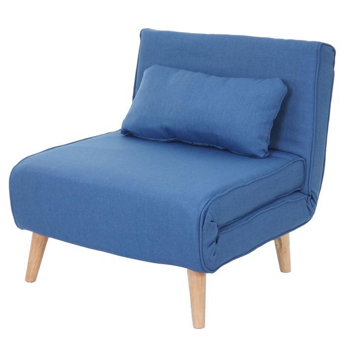 Schlafsessel Hwc D35 Schlafsofa Funktionssessel Klappsessel Relaxsessel Jugendsessel Sessel Stoff Textil Blau