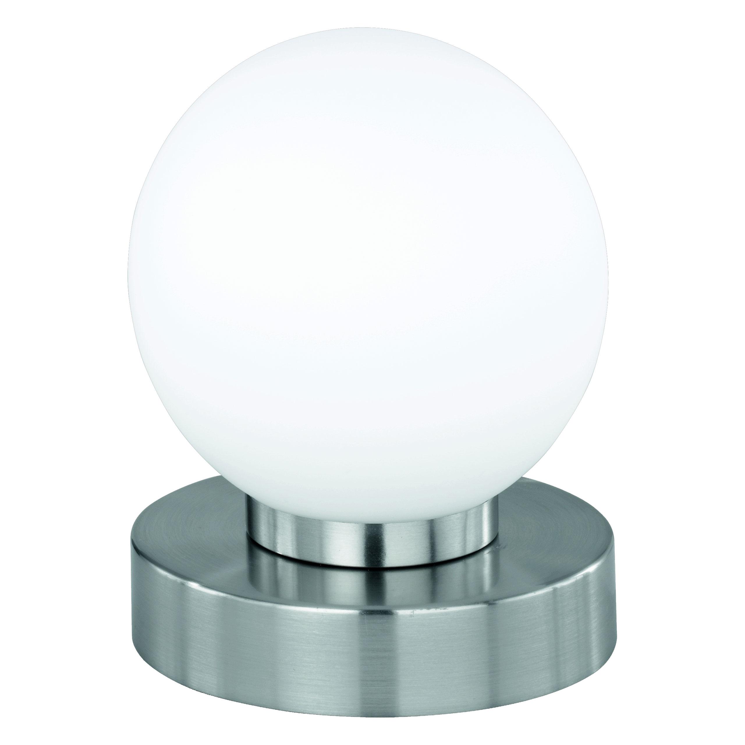 reality trio kugellampe lampe tischleuchte touch me dimmer nickel matt glas opal wei. Black Bedroom Furniture Sets. Home Design Ideas