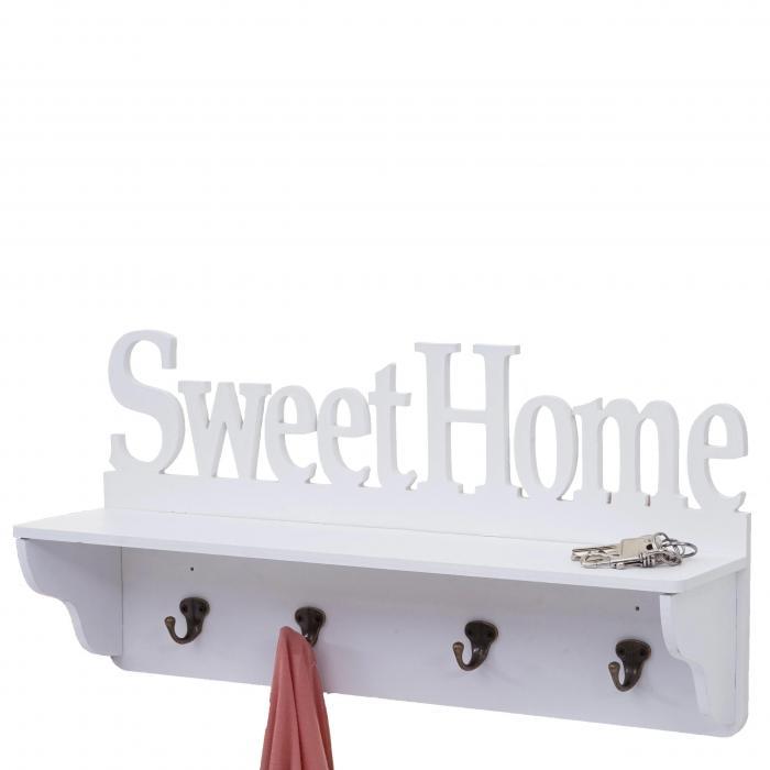 Wandgarderobe Hwc D41 Sweet Home Garderobe Regal 4 Haken Massiv 30x60x13cm Weiß