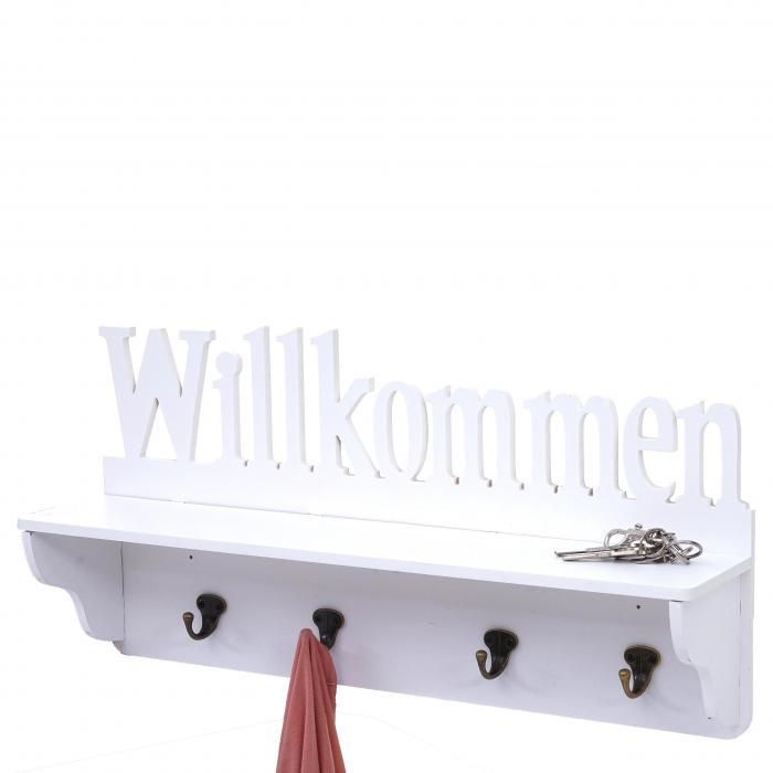 Wandgarderobe Hwc D41 Willkommen Garderobe Regal 4 Haken Massiv 30x60x13cm Weiß