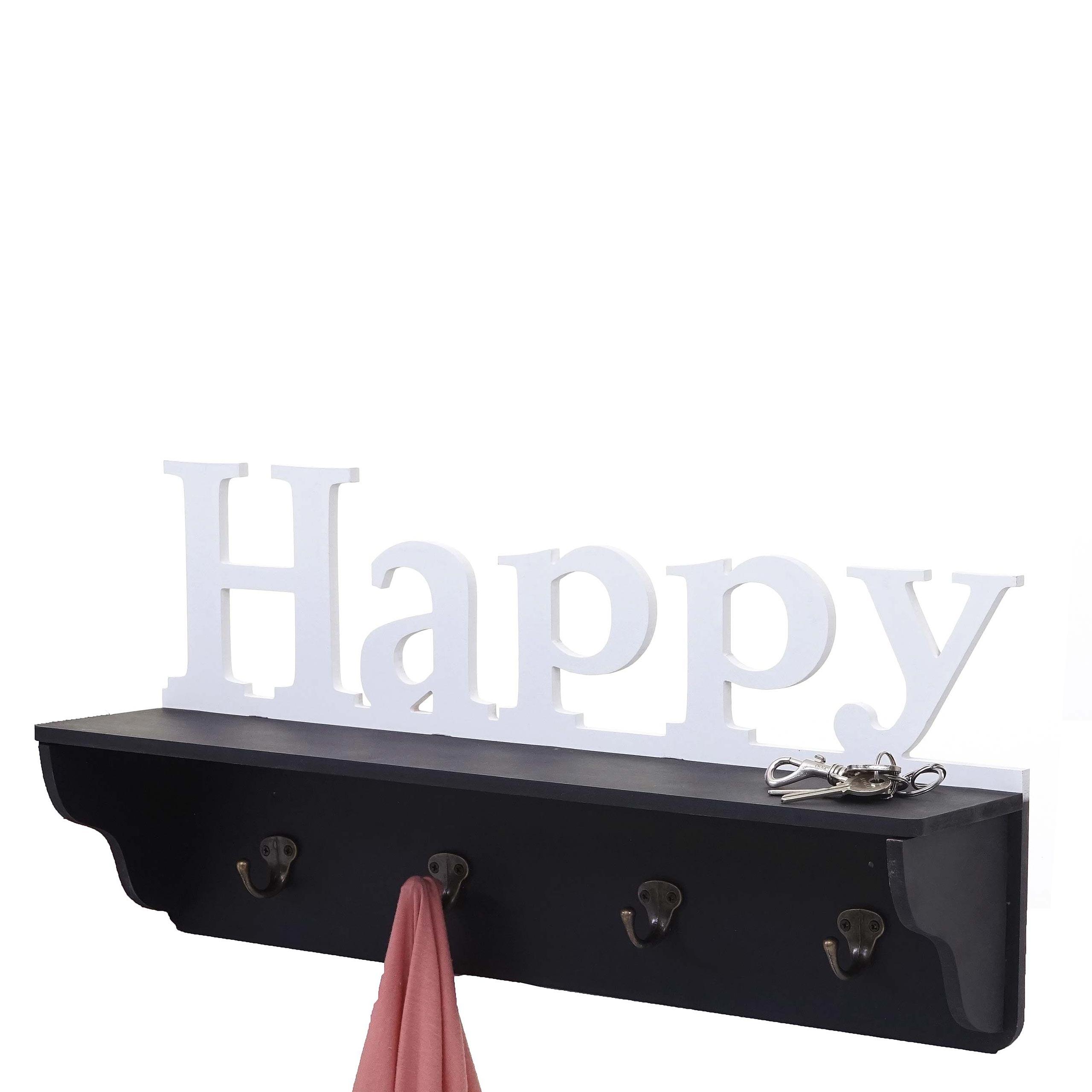 wandgarderobe hwc d41 happy garderobe regal 4 haken. Black Bedroom Furniture Sets. Home Design Ideas