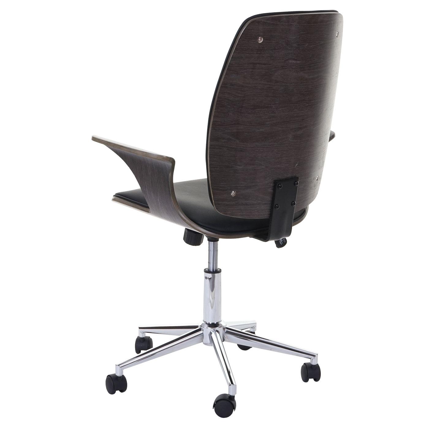 Rückenansicht Bürostuhl HWC-C54, Grau Sitzfläche schwarz