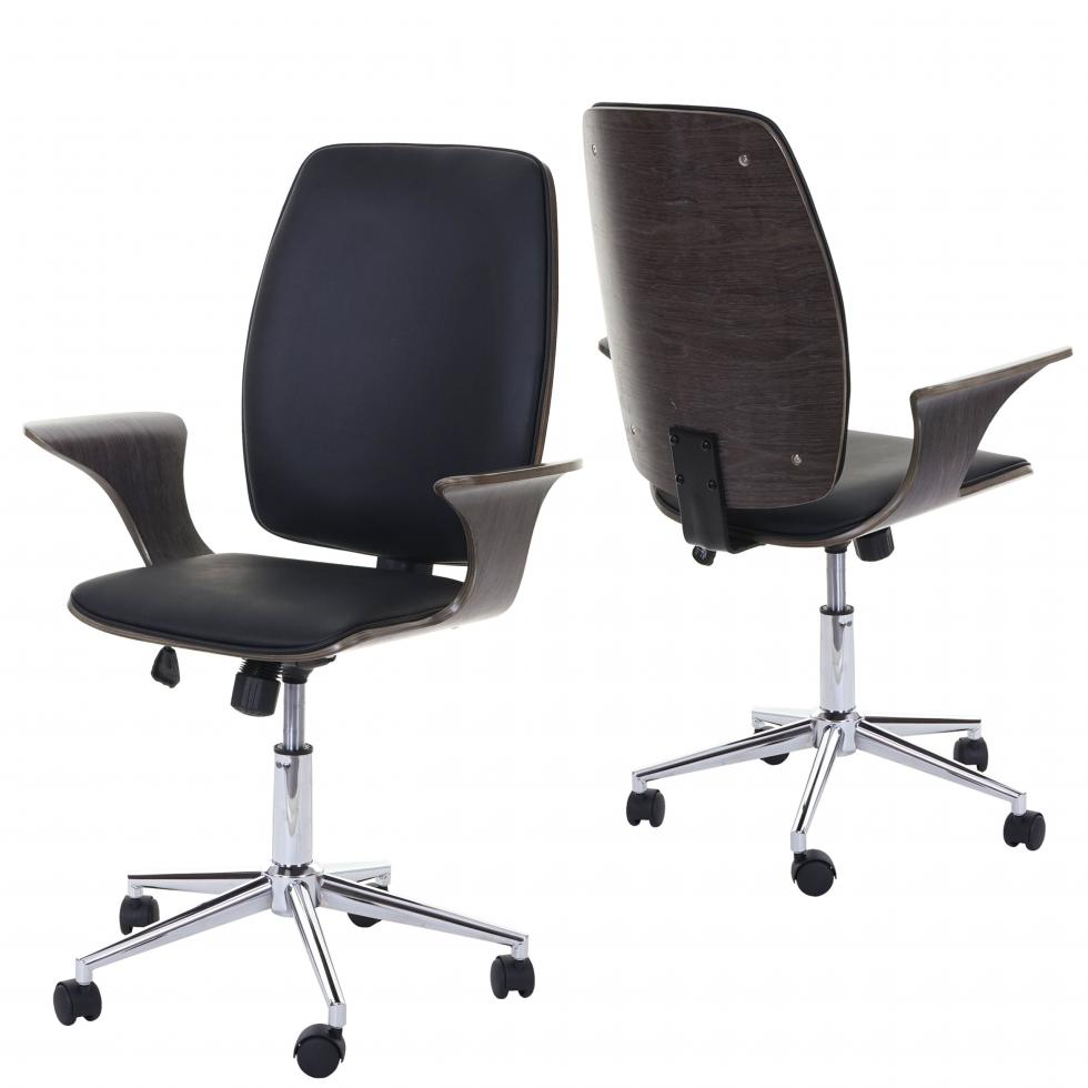 Drehstuhl MCW-C54 Bürostuhl Bugholz Walnuss-Optik Sitzfläche schwarz Kunstleder