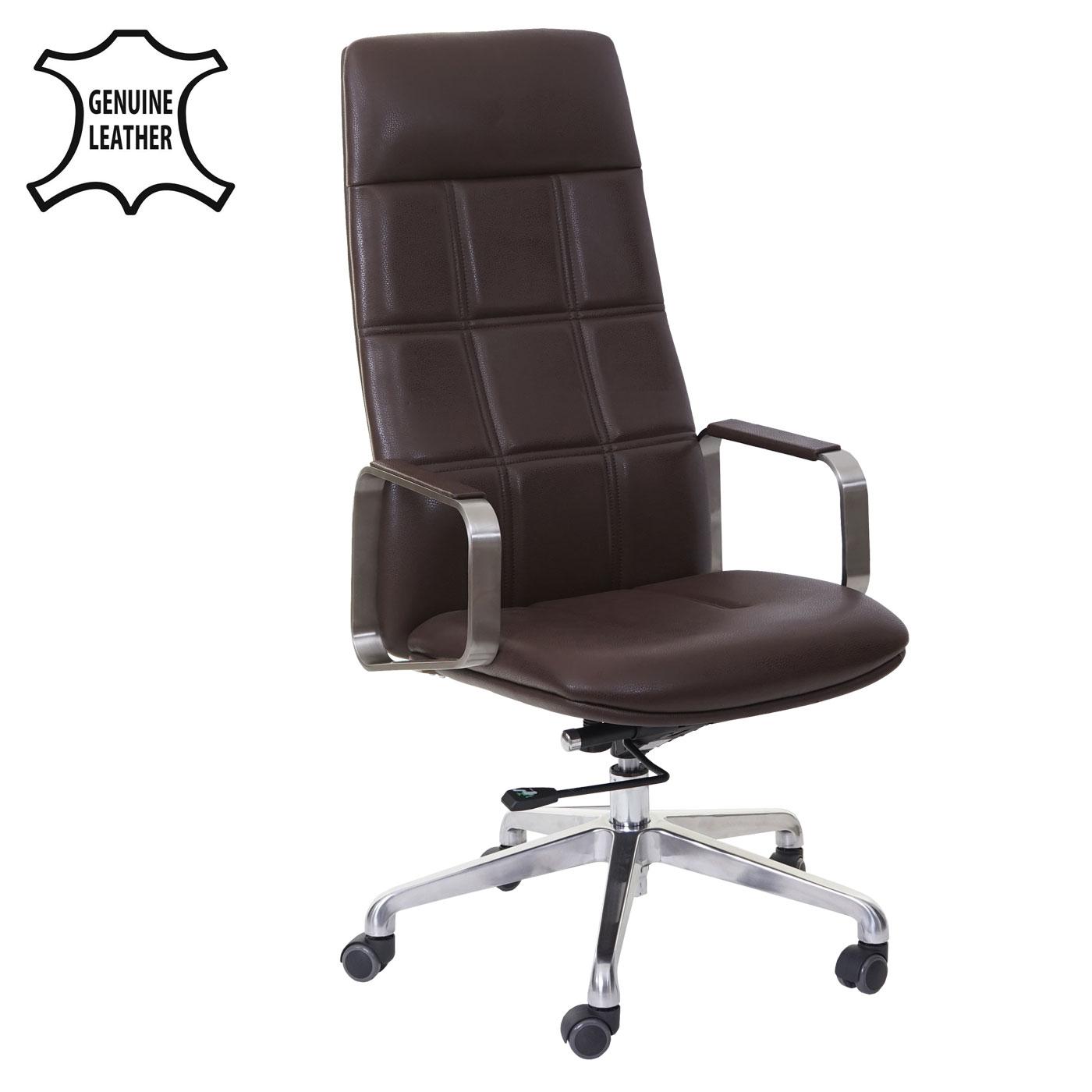b rostuhl hwc a57 schreibtischstuhl drehstuhl voll leder kunstleder edelstahl iso9001 braun. Black Bedroom Furniture Sets. Home Design Ideas