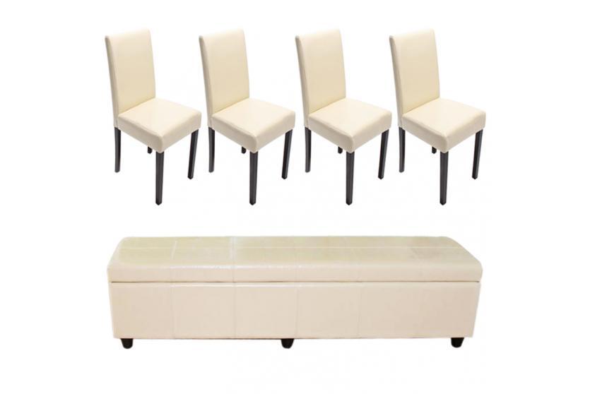 garnitur sitzgruppe bank mit aufbewahrung kriens xxl 4 st hle littau leder creme. Black Bedroom Furniture Sets. Home Design Ideas