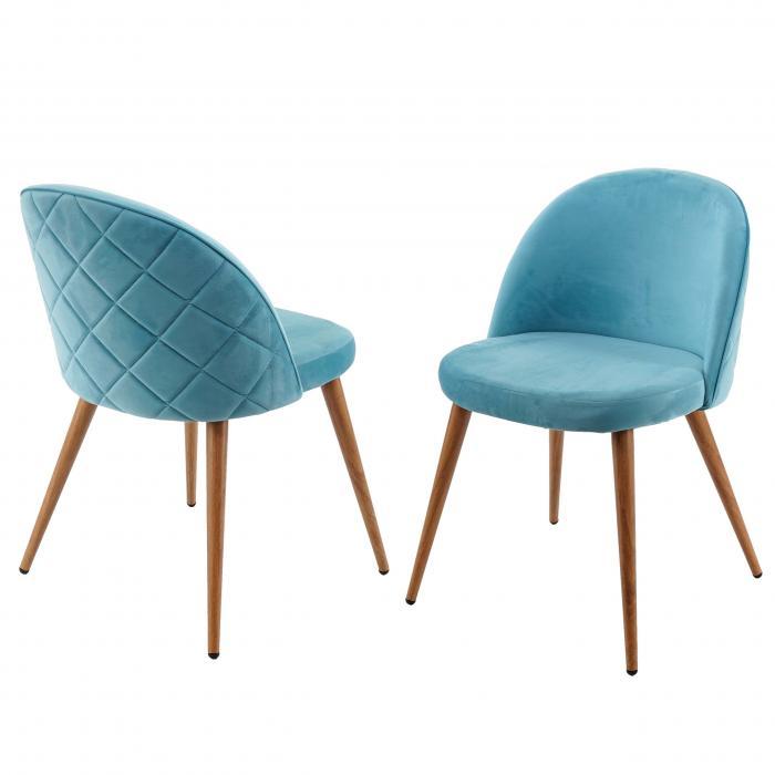 2x Esszimmerstuhl Hwc D53 Stuhl Kuchenstuhl Retro 50er Jahre Design Samt Turkis