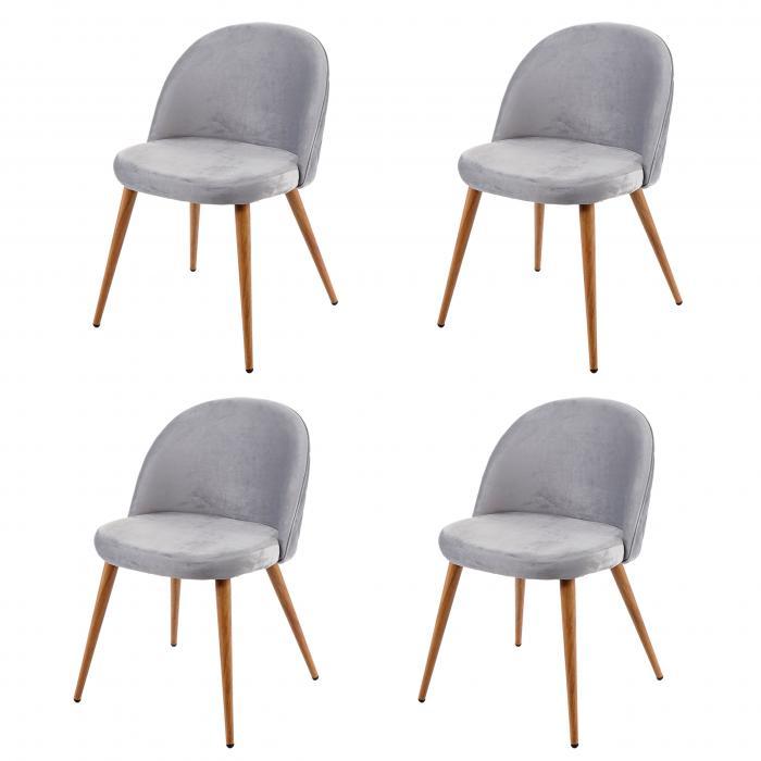 4x Esszimmerstuhl Hwc D53 Stuhl Kuchenstuhl Retro 50er Jahre Design Samt Hellgrau